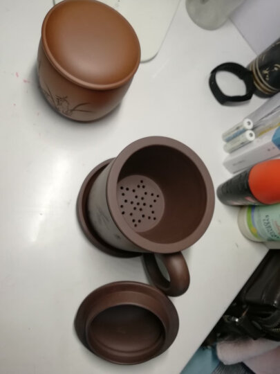 鲍鼎泰 紫砂杯茶具紫砂壶陶瓷茶杯飘逸杯套装带过滤内胆全手工杯子大容量品茗主人杯 男 和气(朱泥,泥料不多,此款杯子已有限,售完为止) 晒单图