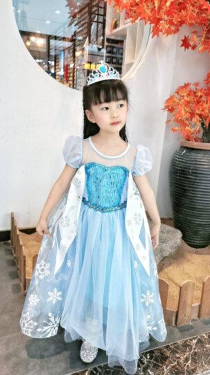 蓓然美 爱莎公主裙童装冰雪奇缘公主裙2艾莎长款儿童聚会生日六一礼物女童连衣裙 蓝短袖 110码 晒单图