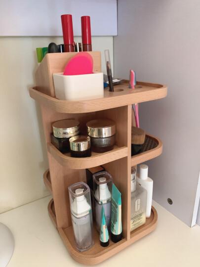 初心(CHOSIN)木制化妆品收纳盒360度旋转桌面收纳架首饰盒梳妆台整理盒 旋转多功能款 晒单图