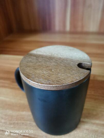 无泥(WUNI) 欧式磨砂黑色哑光马克杯带勺高档大容量陶瓷水杯子 创意简约咖啡厅咖啡杯配木盖 黑色哑光马克杯带勺(配木盖) 晒单图
