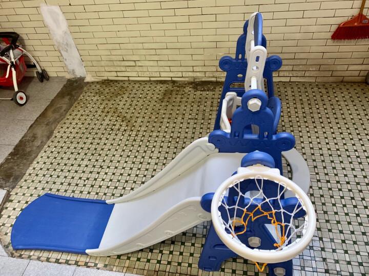 滑滑梯儿童室内玩具家用秋千组合1-3岁宝宝滑梯户外游乐园婴儿秋千 2段滑道加长奶油色 晒单图