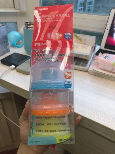 贝亲(Pigeon) 奶粉盒 便携奶粉辅食储存盒 独立可拆三层奶粉盒 CA07 晒单图