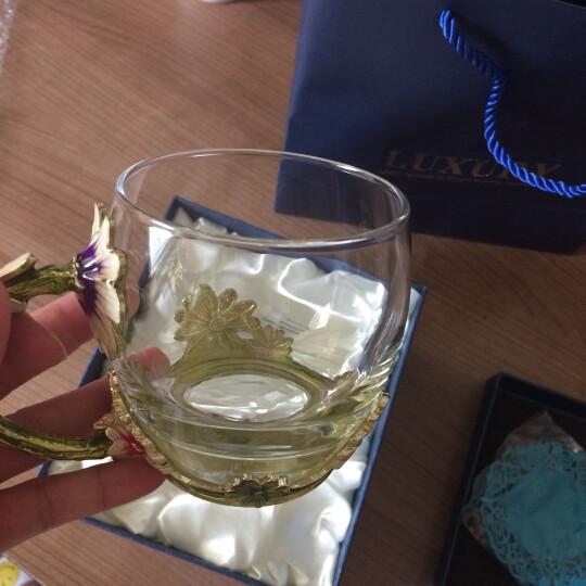 珐琅彩玻璃水杯花茶杯子果汁杯泡茶杯情侣创意实用时尚玫瑰花水晶对杯生日礼物送女友情人老婆朋友圣诞节礼品 雏菊款矮杯+珐琅勺+礼盒礼袋 晒单图