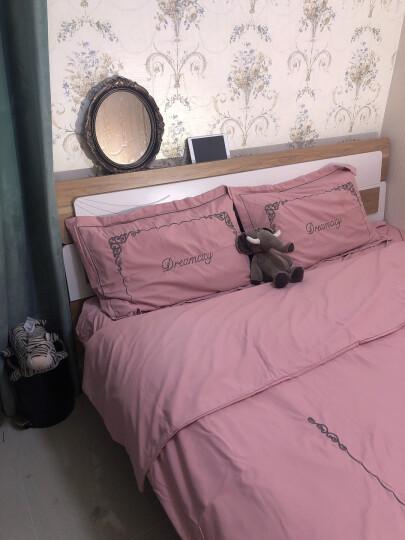 曼克顿 家纺套件欧式全棉13372刺绣四件套高支高密单双人床单被套床裙套件亲肤可裸睡居家床上用品 倾城-罗兰紫 2m加大床适用(被套220*240cm) 晒单图