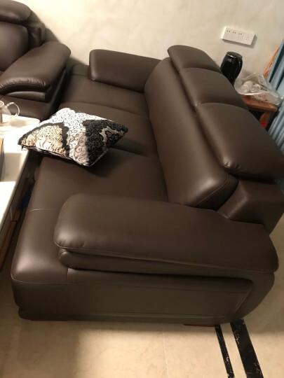 慕适 沙发 真皮沙发 现代简约沙发 三人沙发 小户型沙发客厅整装家具 双人沙发四人组合办公 啡色真皮(升级版a50) 四人沙发 晒单图