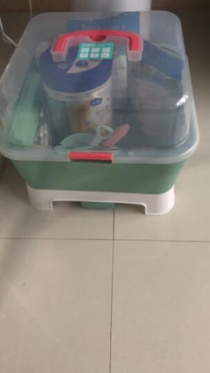babycare奶瓶收纳箱宝宝餐具PP材质奶瓶收纳盒婴儿用品收纳箱带盖防尘无异味大号 雾绿 晒单图