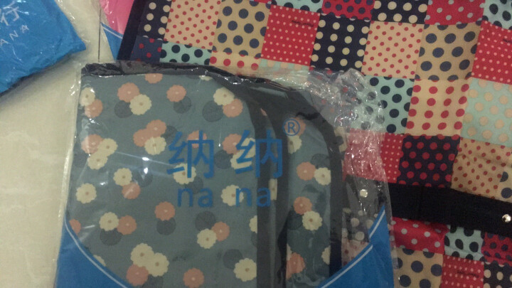 纳纳(nana)棉被袋收纳包收纳袋搬家手提袋打包袋子 编织袋行李包袋布袋旅行收纳袋 包装袋整理袋衣服 圆圈格子 超大号70*45*36cm=113L 晒单图