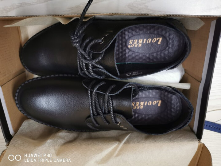 路易克思韩版商务皮鞋男低帮休闲鞋英伦软底驾车鞋5585黑色42 晒单图