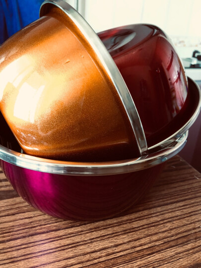 美厨(maxcook)不锈钢盆三件套 加大加厚调料盆洗菜盆和面盆味斗 炫彩系列MCWA-172 晒单图