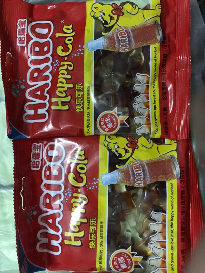 德国进口 哈瑞宝(HARIBO)快乐可乐橡皮糖 儿童节水果糖果汁软糖 网红零食婚庆QQ喜糖 可乐味200g 晒单图
