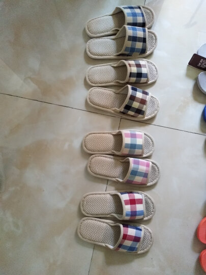恋家 家居亚麻拖鞋时尚格子地板拖 深蓝格 42/43 LJ815012 晒单图