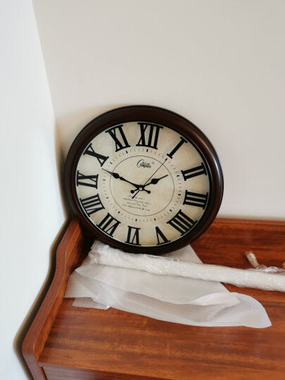 康巴丝(Compas)挂钟 创意静音客厅钟表现代简约时钟居家办公挂表电子石英钟C2855竹木 晒单图