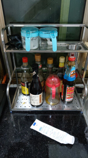 美厨(maxcook)厨房置物架不锈钢双层调味瓶架 带挂钩 MC2040 晒单图