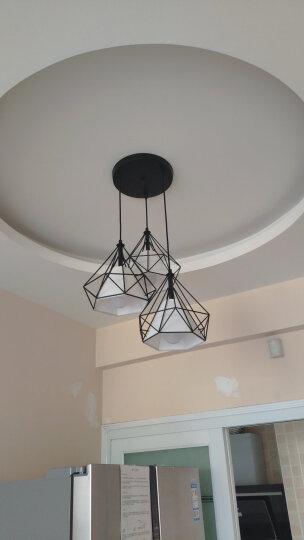光祥照瑞美式吊灯钻石三头饭厅吊灯创意个性LED卧室吧台灯具现代餐厅灯 下单备注光色或联系客服备注 白色灯罩 黑色灯架 晒单图
