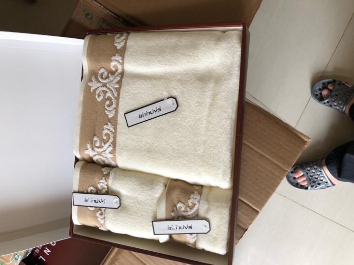 三利 纯棉缎档图腾纹样 方巾毛巾浴巾三件套 礼盒装 桃粉色 晒单图