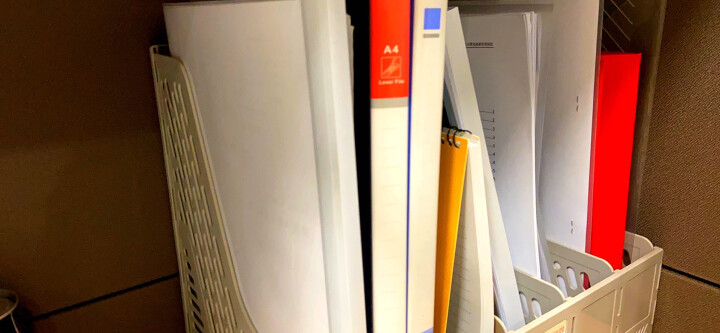 得力(deli)五联镂空桌面文件框 五栏带标签稳固文件栏/文件筐/资料框 蓝色 晒单图
