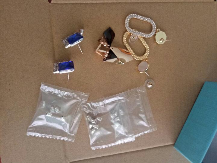 伊黛儿气质蓝色方块耳环大气简约仿水晶耳环菱形耳钉女潮韩版配饰品 方块水晶黑色 (A118) 晒单图