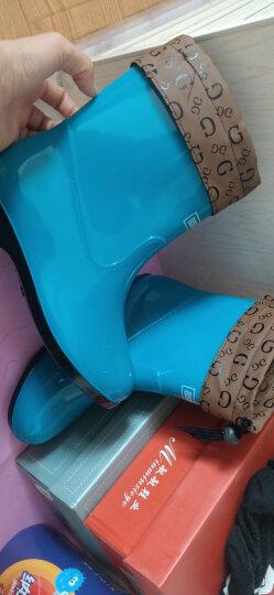 回力雨鞋女防水简约时尚短筒加绒保暖雨靴套鞋女鞋 墨绿 36 晒单图