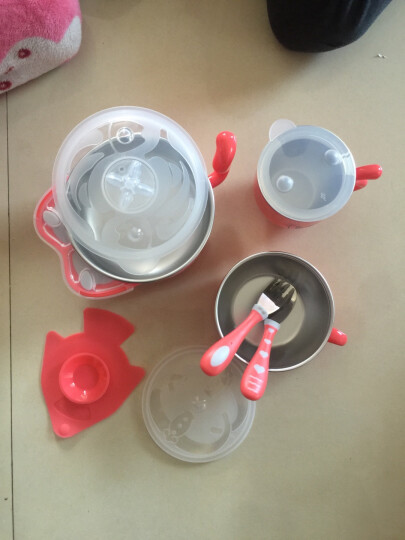 babycare儿童餐具套装保温碗婴儿碗耐热保温不锈钢吸盘碗婴儿餐具 珊瑚红5件套 晒单图