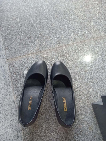 芭洛梵2020春秋季新款单鞋女浅口中高跟女鞋真皮女士皮鞋粗跟工作职业妈妈鞋圆头新品 黑色 35 晒单图