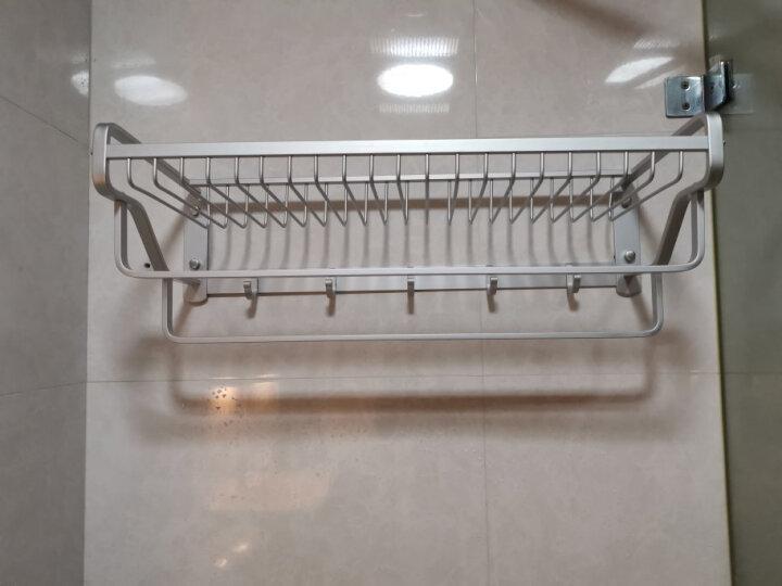 欧文 浴室置物架壁挂 卫生间厕所太空铝多功能浴巾架挂架 毛巾架 浴室挂件 网篮单层双杆带 晒单图