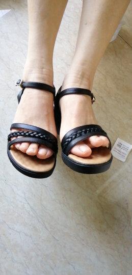 红蜻蜓女鞋 凉鞋女休闲一字带凉鞋百搭时尚坡跟简约舒适女鞋夏 WTK9194米色 37 晒单图