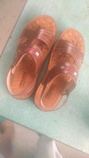 夏季男凉鞋真皮新款沙滩鞋男士休闲凉鞋牛皮沙滩鞋男透气凉拖鞋套脚露趾沙滩凉鞋 橘黄 40 晒单图