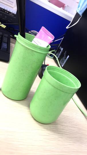 欣沁 小麦秸系列洗漱杯旅行收纳圆筒牙刷盒便携式防菌牙刷杯 绿色 晒单图