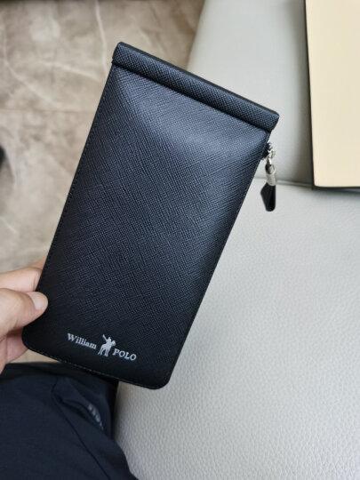 英皇保罗POLO防盗刷卡包男士钱包长款真皮多卡位皮夹头层牛皮拉链卡夹大容量钱夹 蓝色十字纹 晒单图