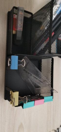 得力(deli)金属网纹笔筒 多功能三格桌面收纳 办公用品 黑色9175 晒单图