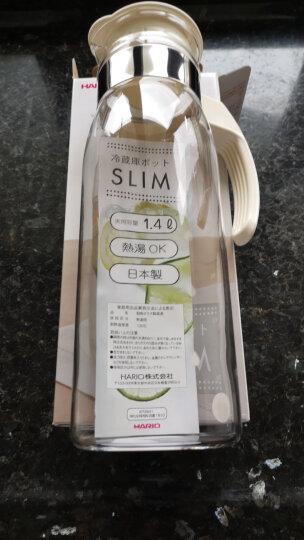HARIO日本原装进口冷水壶大容量耐热玻璃杯凉水壶热饮花茶果汁杯1400ML  经典白 晒单图