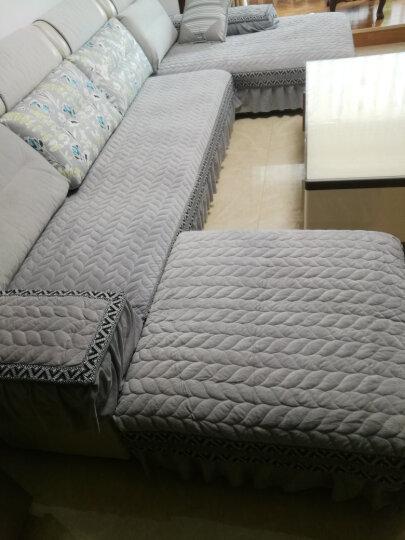 暄悦坊沙发垫套装坐垫冬季欧式毛绒沙发套罩巾全包飘窗垫 雅致-灰色 80*80+20cm垂边一片 晒单图