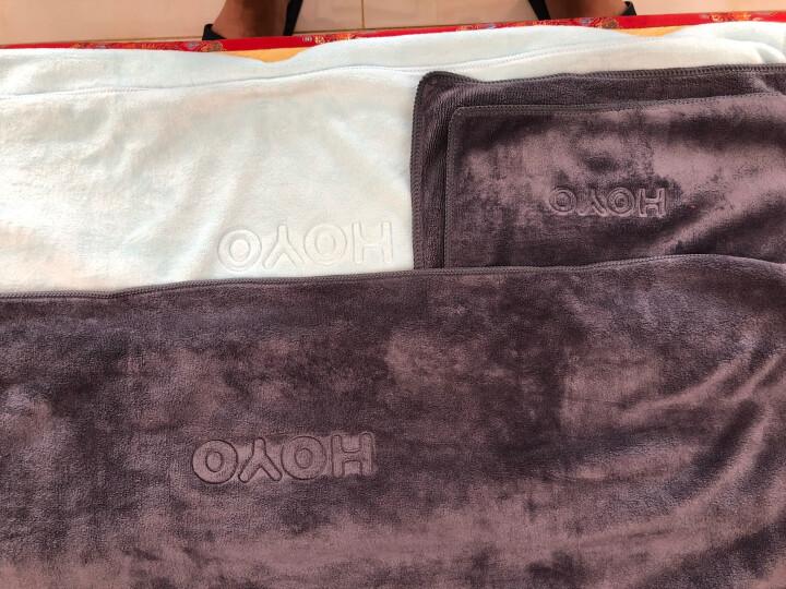 日本品牌HOYO毛巾浴巾套装冬季款纯棉浴袍男女可穿吸水毛巾大号加厚速干情侣儿童婴儿可用带挂钩 毛浴套装(灰色) 晒单图
