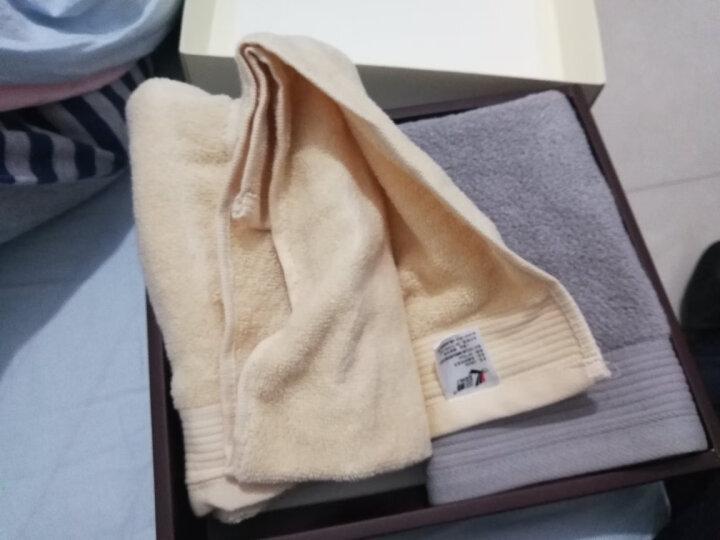 三利 纯棉缎边毛巾礼盒2件套 A类标准 无捻纱织面巾 34×75cm 灰色+杏色组合 带手提袋 晒单图