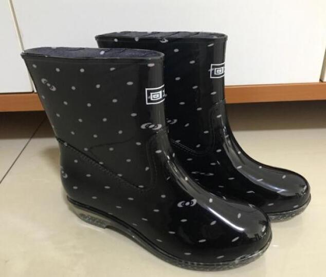 回力雨鞋女士加绒韩版防滑水鞋中筒时尚胶鞋套鞋雨靴女式 细点(加绒) 38 晒单图