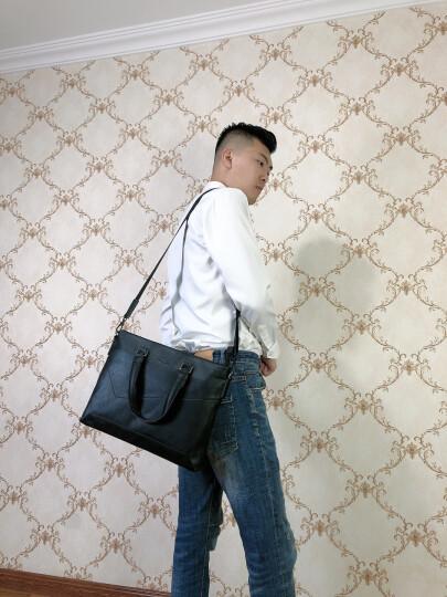 法国COW男包商务公文包 男士时尚休闲手提包单肩斜挎电脑包旅行背包 C-8610公文包 黑色 晒单图