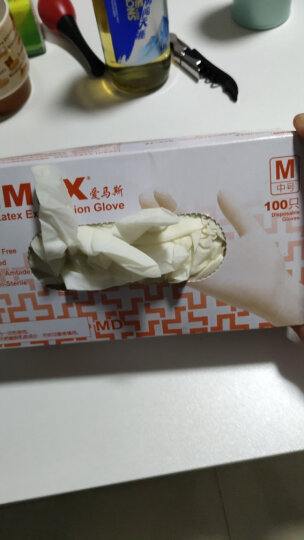 爱马斯AMMEX一次性乳胶手套橡胶检查医务防水隔离食品餐饮牙科家务美容科研TLFCVMD 100只/盒乳白色 中号M 晒单图