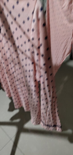 芬腾 睡衣女秋季时尚韩版长袖纯棉圆点休闲开衫家居服女士套装 粉底兰点 XL 晒单图
