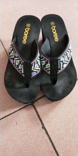 宝人(Boree)拖鞋女坡跟夏新品人字拖时尚外穿高跟凉拖鞋民族风防滑松糕 高跟棕色8厘米 36 晒单图
