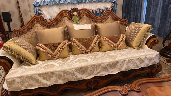 利龙 欧式沙发垫四季通用布艺皮沙发套罩防滑高档奢华北欧客厅坐垫定做 裙边米蓝银色 定做请联系客服 晒单图