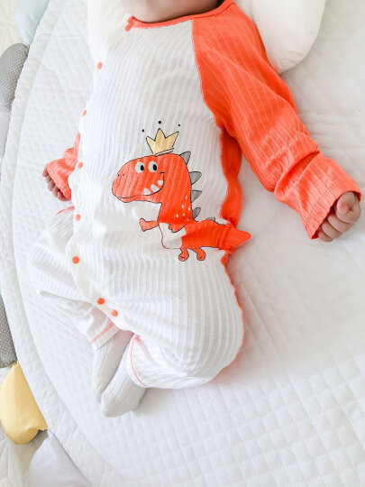 优奇 婴儿衣服长袖薄款连体衣新生儿睡衣初生宝宝纱布夏季空调服 夏款【小恐龙】橙 80cm(推荐身高76cm--82cm) 晒单图