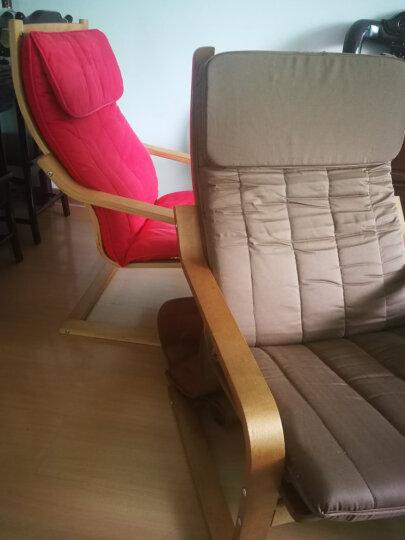 木轮(MULUN) 木轮波昂休闲椅桦木弯曲木北欧现代简约摇椅实木摇摇椅懒人布艺沙发椅躺椅胡桃色框架 出口款 格洛斯 人造纤维皮 红棕色 晒单图
