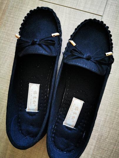 老北京布鞋女鞋豆豆鞋平底蝴蝶结单鞋百搭黑色工作鞋女休闲鞋妈妈鞋 灰色 38 晒单图