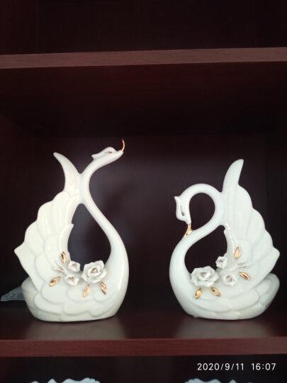 贝汉美(BHM) 创意描金天鹅摆件工艺品 家居客厅电视柜红酒柜装饰品结婚礼物 甜蜜时光天鹅礼盒装 晒单图