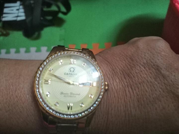 嘉年华(Carnival)手表男士机械表时尚商务夜光防水双日历男表 8629 全金金面钢带 晒单图