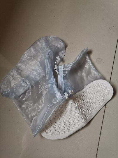 利雨防雨鞋套男女加厚底雨鞋耐磨防水鞋套儿童雨天防滑靴套 透明白 L 晒单图