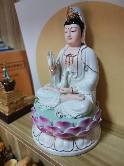 微美10至19吋坐莲观音佛像摆件供奉观世音菩萨像白瓷彩绘德化陶瓷佛教工艺品瓷器佛堂用品 大红彩绘 19吋(高约48厘米) 晒单图