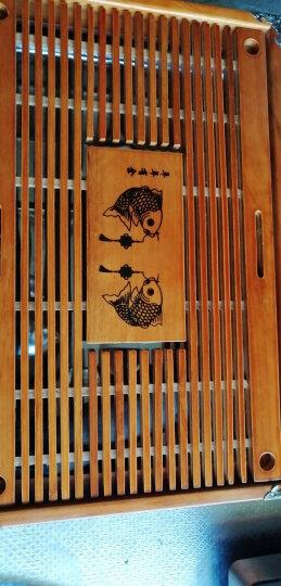 尚言坊 简约实木茶盘家用功夫茶具套装大茶海托盘沥水不锈钢底小茶台客厅 15【中端款】红色-万事如意不锈钢底+四配件 晒单图