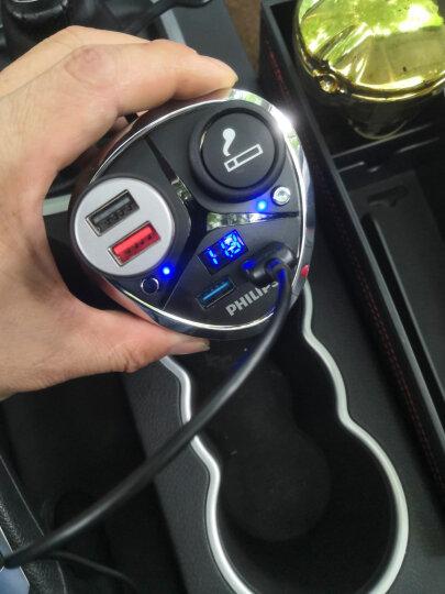 飞利浦(PHILIPS)汽车载充电器车充杯 12V/24V车通用 点烟器一拖二车充头DLP2029 双USB 电压监测 黑色 晒单图