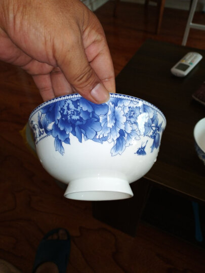 煜乾 碗泡面碗米饭碗高脚碗4.5英寸5英寸6英寸单个家用景德镇防烫创意骨瓷青花瓷釉中彩 4.5英寸高脚碗 晒单图
